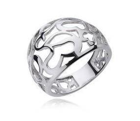 Srebrny ażurowy pierścionek duży pr.925 serce duży