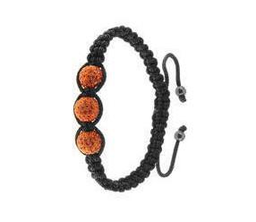 Bransoletka sznurkowa pr.925 - pomarańczowa 3 kulki