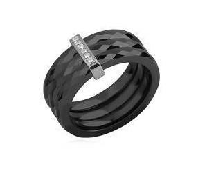 Potrójny pierścionek ceramiczny czarny ze srebrnym (pr. 925) elementem - prostokąt z cyrkoniami