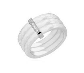 Potrójny pierścionek ceramiczny biały ze srebrnym (pr. 925) elementem - prostokąt z cyrkoniami