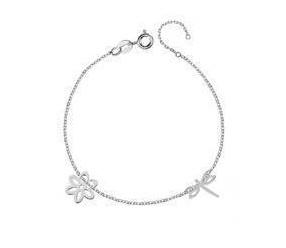 Srebrna bransoletka pr.925 z ważką i kwiatkiem