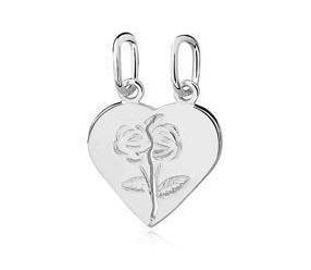 Srebrna zawieszka pr.925 serce łamane dla par z różami