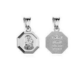 Srebrny medalik Matka Boska Częstochowska dwustronna