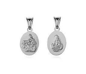 Srebrny medalik Jezus / Matka Boska Szkaplerzna