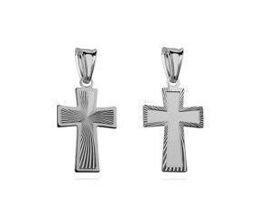 Srebrny (pr.925) krzyżyk diamentowany dwustronny