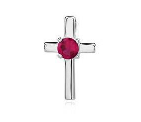 Srebrny (pr.925) krzyżyk z rubinową cyrkonią