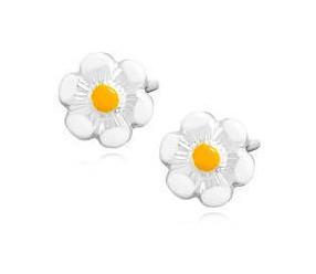 Srebrne kolczyki pr.925 białe emaliowane kwiatki