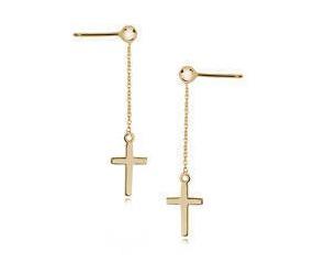 Srebrne kolczyki pr.925 pozłacane krzyże na łańcuszku