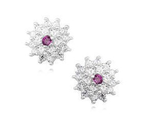 Kolczyki kwiatki srebrne pr.925 z rubinową cyrkonią
