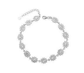 Srebrna modna bransoletka pr.925 Cyrkonia biała - karmazycja