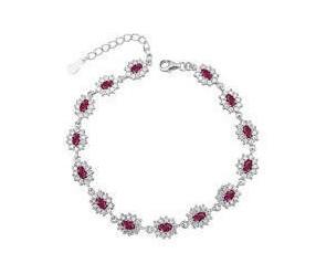 Srebrna modna bransoletka pr.925 Cyrkonia rubinowa - karmazycja