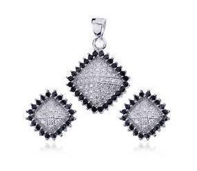 Srebrny komplet biżuterii romb pr,925 Cyrkonia biała i czarna