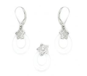 Srebrny pr. 0.925 Owalny Biały komplet biżuterii ceramicznej KPC105