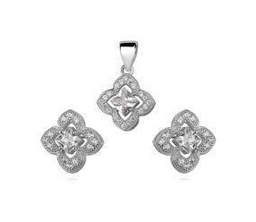 Srebrny elegancki komplet pr.925 cyrkonia biała - kwiatki