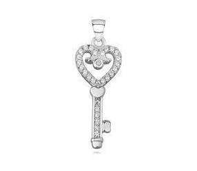 Srebrna zawieszka pr.925 klucz serce z cyrkoniamii