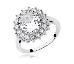 Srebrny duży pierścionek pr.925 Cyrkonia biała - karmazycja