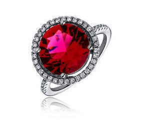 Srebrny elegancki, duży pierścionek pr.925 Cyrkonia rubinowa