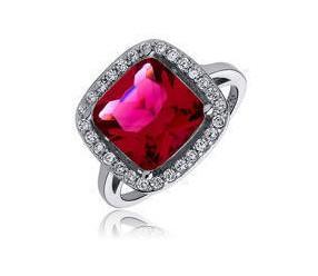 Srebrny elegancki, duży pierścionek pr.925 Cyrkonia kwadratowa rubinowa