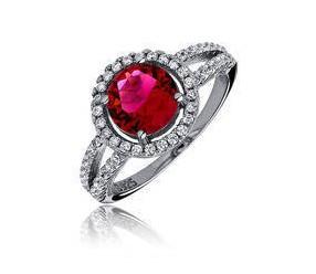 Srebrny elegancki pierścionek pr.925 Cyrkonia rubinowa