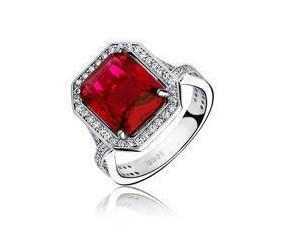 Srebrny modny pierścionek pr.925 Cyrkonia rubinowa