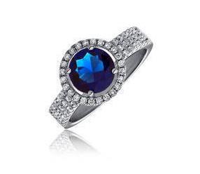 Piękny srebrny pierścionek pr.925 Cyrkonia szafirowa