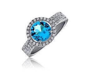 Piękny srebrny pierścionek pr.925 Cyrkonia akwamarynowa