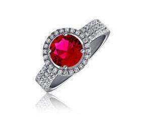 Piękny srebrny pierścionek pr.925 Cyrkonia rubinowa