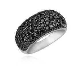 Srebrny pierścionek pr.925 z czarnymi cyrkoniami - wypukły