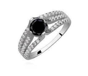 Srebrny pierścionek pr.925 cyrkonia czarna okrągła