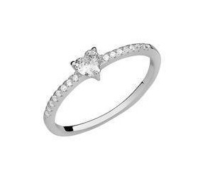 Srebrny delikatny pierścionek pr.925 cyrkonia biała serce