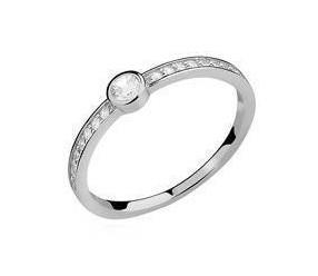 Srebrny delikatny pierścionek pr.925 z okrągłą cyrkonią
