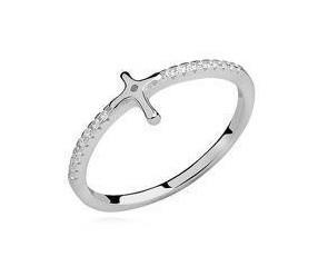Srebrny delikatny pierścionek pr.925 z cyrkoniami - krzyżyk