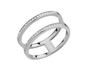 Srebrny, duży pierścionek podwójny pr.925 cyrkonia biała