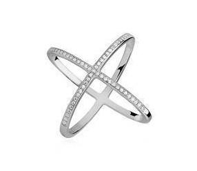 Srebrny, duży pierścionek X podwójny pr.925 cyrkonia biała