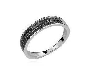 Srebrny pierścionek pr.925 trzy rzędy cyrkonia czarna