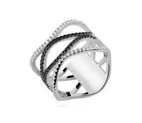 Srebrny, duży pierścionek falowany pr.925 cyrkonia biała i czarna