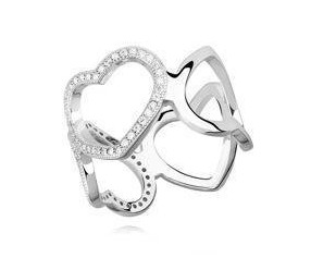 Srebrny, duży pierścionek serca pr.925 cyrkonia biała