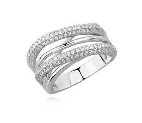 Srebrny pierścionek nowoczesny duży pr.925 z cyrkoniami
