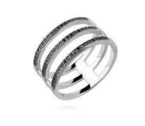 Srebrny, duży pierścionek pr.925 cyrkonia czarna