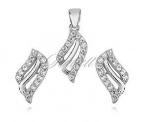 Srebrny elegancki komplet pr.925 cyrkonia biała