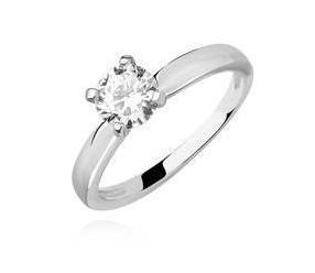 Srebrny pierścionek zaręczynowy pr.925 z białą cyrkonią