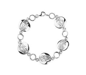 Srebrna bransoletka pr.925 ażurowe, okrągłe elementy