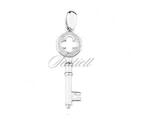 Srebrna zawieszka pr.925 klucz do serca krzyż