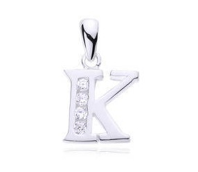 Srebrna zawieszka pr.925 literka K z cyrkoniami