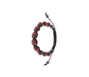 Bransoletka sznurkowa kulki pr.925 czerwony z krzemem