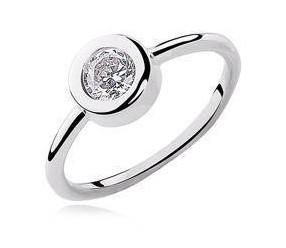 Srebrny okrągły pierścionek pr.925 Cyrkonia biała