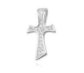 Srebrny (pr.925) krzyżyk z cyrkoniami