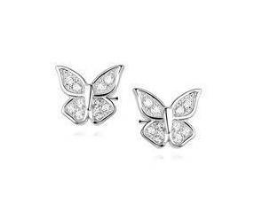 Srebrne kolczyki pr. 925 motylki z cyrkoniami w skrzydełkach