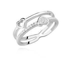 Srebrny pierścionek pr.925 serduszka z białą cyrkonią