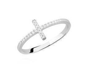 Srebrny pierścionek pr.925 krzyżyk z cyrkoniami